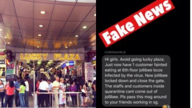 Fake News Lucky Plaza ncov